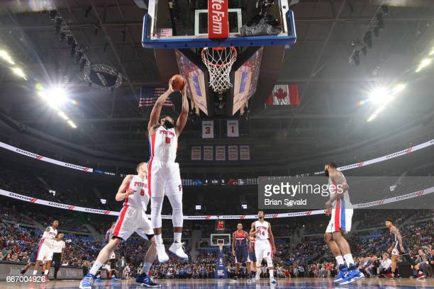 Andre Drummond of the Detroit Pistons grabs the rebound against the Washington Wizards on April 10 2017 at The Palace of Auburn Hills in Auburn Hills...