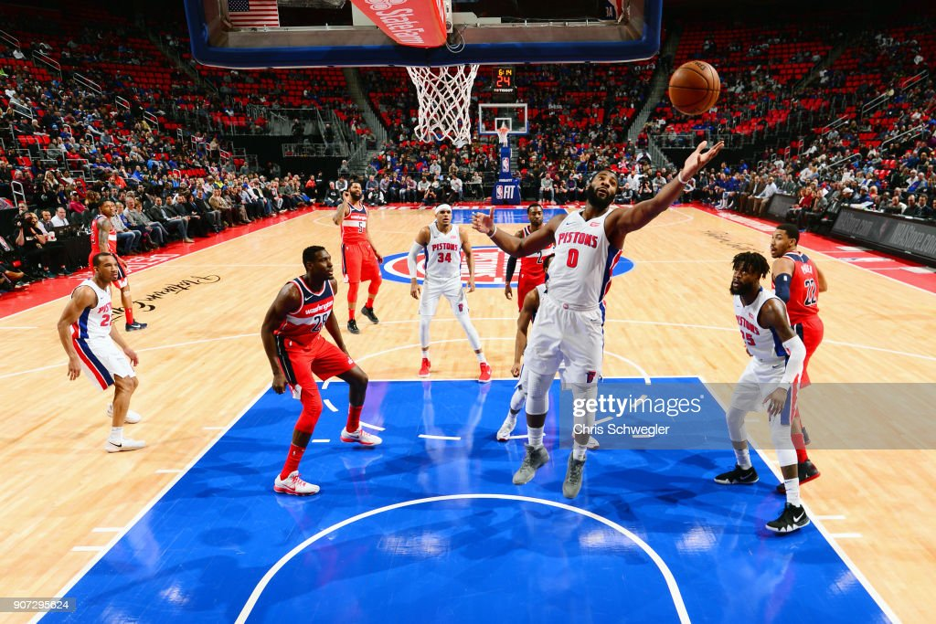 Andre Drummond #0 of the Detroit Pistons grabs the rebound against the Washington Wizards on January 19, 2018 at Little Caesars Arena in Detroit, Michigan.