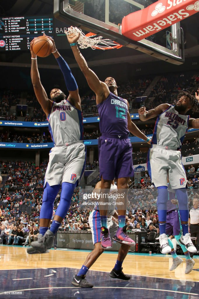Andre Drummond #0 of the Detroit Pistons grabs the rebound against the Charlotte Hornets on February 25, 2018 at Spectrum Center in Charlotte, North Carolina.