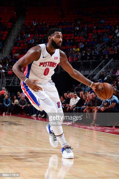 Andre Drummond of the Detroit Pistons handles the ball against the Minnesota Timberwolves on October 25 2017 at Little Caesars Arena in Detroit...