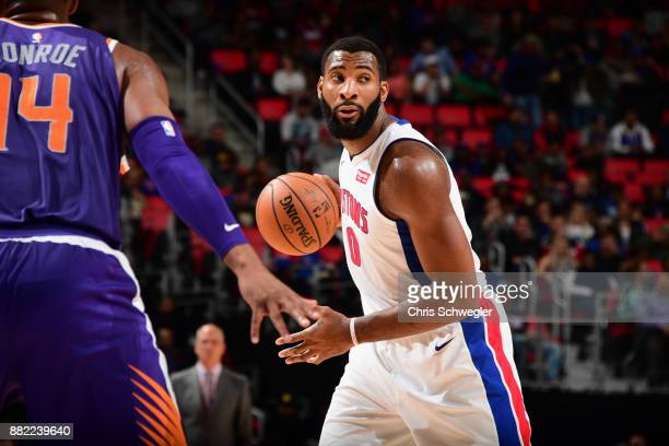 Andre Drummond of the Detroit Pistons handles the ball against the Phoenix Suns on November 29 2017 at Little Caesars Arena in Detroit Michigan NOTE...