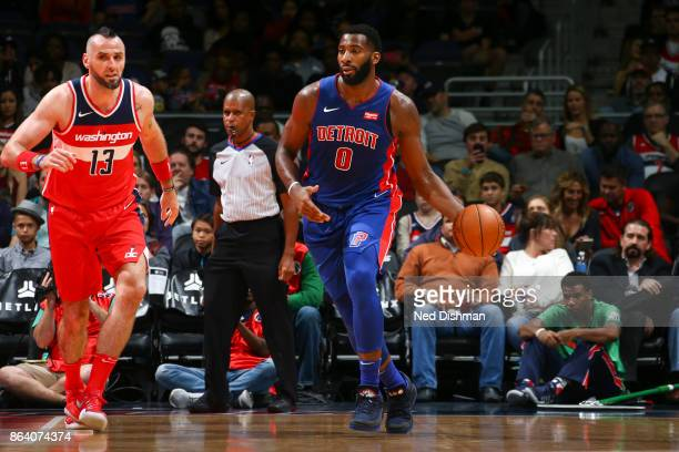 Andre Drummond of the Detroit Pistons handles the ball during game against the Washington Wizards on October 20 2017 at Capital One Arena in...