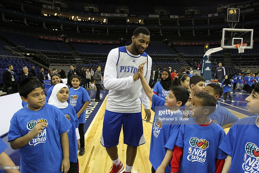 Andre Drummond #1 of the Detroit Pistons high fives kids during the NBA Cares Clinic at the O2 Arena as part of NBA London Live 2013 on January 16, 2013 in London, England.
