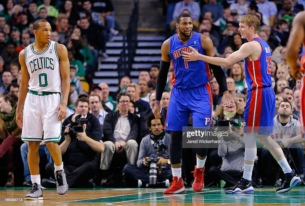 Andre Drummond #1 of the Detroit Pistons is congratulated by teammate Kyle Singler #25 of the Detroit Pistons after getting fouled against the Boston Celtics during the game on April 3, 2013 at TD Garden in Boston, Massachusetts.