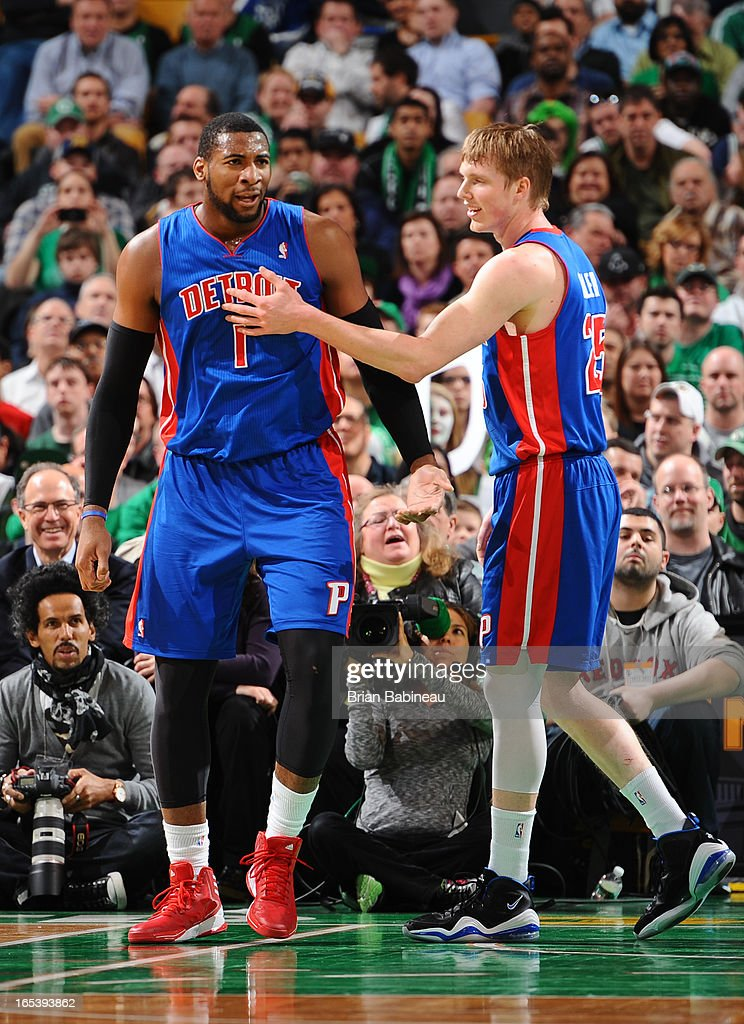 Andre Drummond #1 of the Detroit Pistons is congratulated by teammate Kyle Singler #25 during the game against the Boston Celtics on April 3, 2013 at the TD Garden in Boston, Massachusetts.