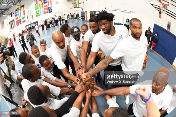 Andre Drummond of the Detroit Pistons Joel Embiid of the Philadelphia 76ers and DeMarcus Cousins of the New Orleans Pelicans takes part in the Jr NBA...