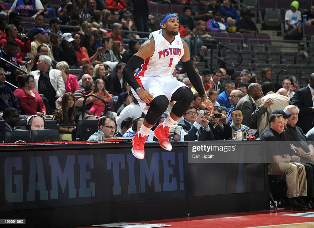 Andre Drummond #1 of the Detroit Pistons jumps during the game between the Detroit Pistons and the Philadelphia 76ers on April 15, 2013 at The Palace of Auburn Hills in Auburn Hills, Michigan.