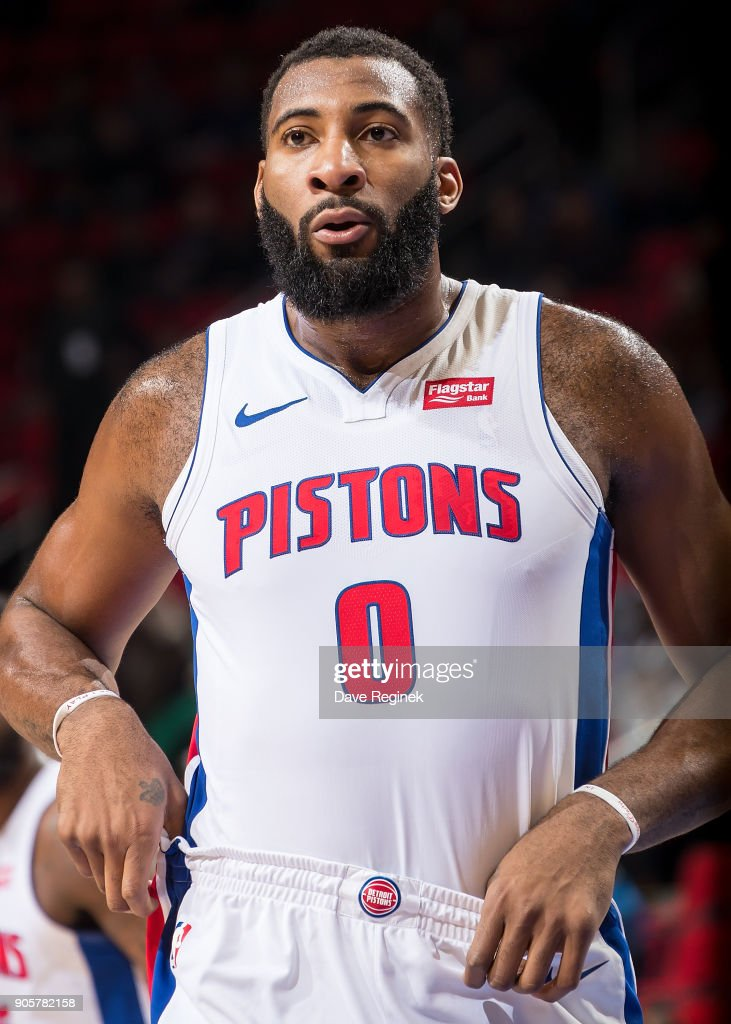 Andre Drummond #0 of the Detroit Pistons looks down court against the Charlotte Hornets during the an NBA game at Little Caesars Arena on January 15, 2018 in Detroit, Michigan.