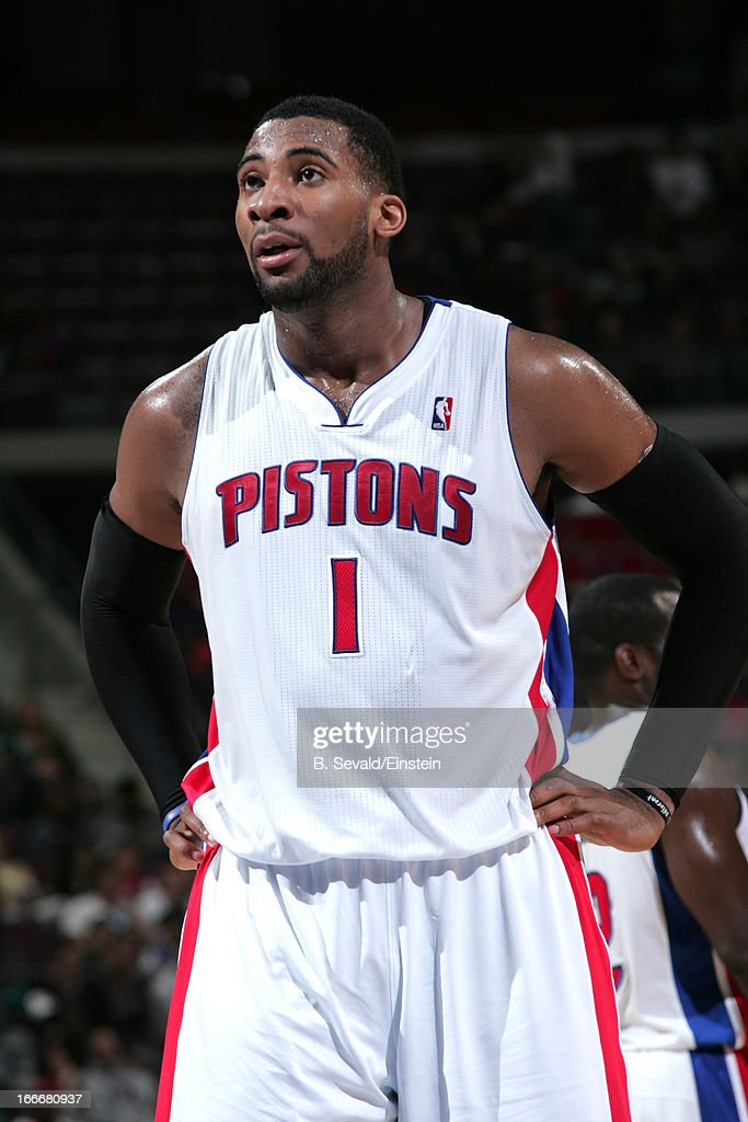 Andre Drummond #1 of the Detroit Pistons looks on during the game between the Detroit Pistons and the Philadelphia 76ers on April 15, 2013 at The Palace of Auburn Hills in Auburn Hills, Michigan.