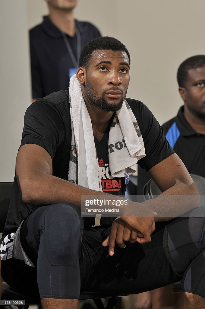 Andre Drummond #1 of the Detroit Pistons looks on from the bench during the 2013 Southwest Airlines Orlando Pro Summer League between the Detroit Pistons and the Miami Heat on July 12, 2013 at Amway Center in Orlando, Florida.