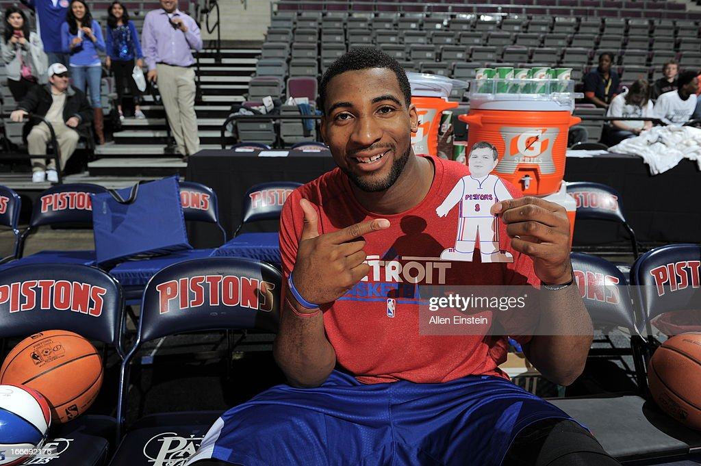 Andre Drummond #1 of the Detroit Pistons poses for a photo during the game between the Detroit Pistons and the Philadelphia 76ers on April 15, 2013 at The Palace of Auburn Hills in Auburn Hills, Michigan.
