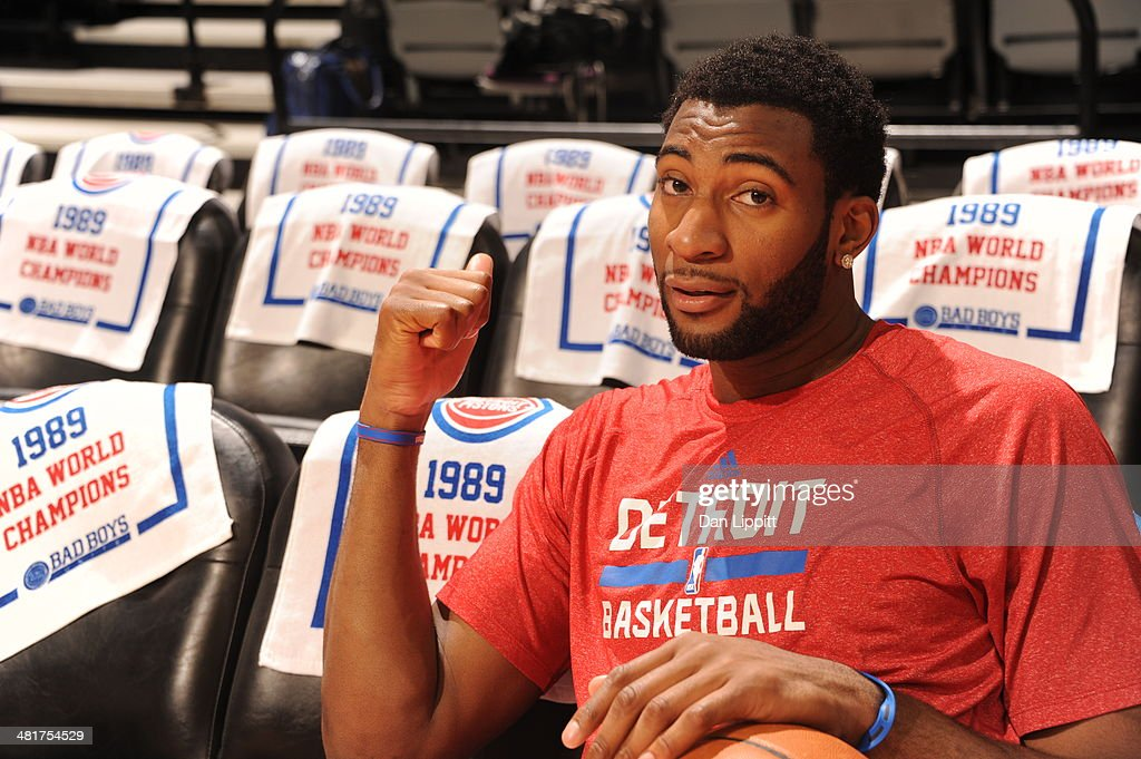 <a gi-track='captionPersonalityLinkClicked' href=/galleries/search?phrase=Andre+Drummond&family=editorial&specificpeople=7122456 ng-click='$event.stopPropagation()'>Andre Drummond</a> #0 of the Detroit Pistons poses for a picture before the game against the Miami Heat on March 28, 2014 at The Palace of Auburn Hills in Auburn Hills, Michigan.