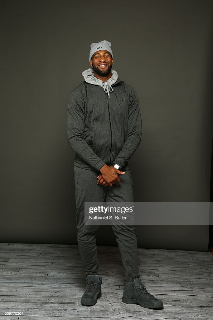 <a gi-track='captionPersonalityLinkClicked' href=/galleries/search?phrase=Andre+Drummond&family=editorial&specificpeople=7122456 ng-click='$event.stopPropagation()'>Andre Drummond</a> #0 of the Detroit Pistons poses for a portrait on February 12, 2016 at the Sheraton Centre as part of 2016 NBA All-Star Weekend in Toronto, Ontario Canada.
