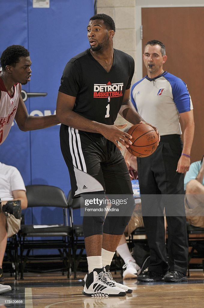 Andre Drummond #1 of the Detroit Pistons protects the ball during the 2013 Southwest Airlines Orlando Pro Summer League between the Detroit Pistons and the Miami Heat on July 12, 2013 at Amway Center in Orlando, Florida.
