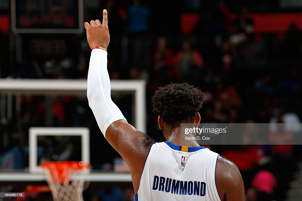 <a gi-track='captionPersonalityLinkClicked' href=/galleries/search?phrase=Andre+Drummond&family=editorial&specificpeople=7122456 ng-click='$event.stopPropagation()'>Andre Drummond</a> #0 of the Detroit Pistons reacts after a free throw by Reggie Jackson #1 in the final seconds of their 106-94 win over the Atlanta Hawks at Philips Arena on October 27, 2015 in Atlanta, Georgia. NOTE TO USER User expressly acknowledges and agrees that, by downloading andor using this photograph, user is consenting to the terms and conditions of the Getty Images License Agreement.