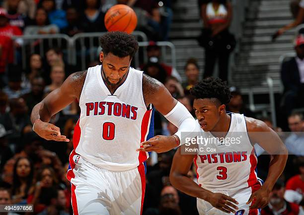 Andre Drummond of the Detroit Pistons reacts after dunking the ball against the Atlanta Hawks at Philips Arena on October 27 2015 in Atlanta Georgia...