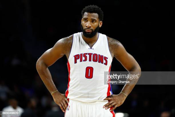 Andre Drummond of the Detroit Pistons reacts late in the game during a 105103 loss to the Toronto Raptors at the Palace of Auburn Hills on April 5...