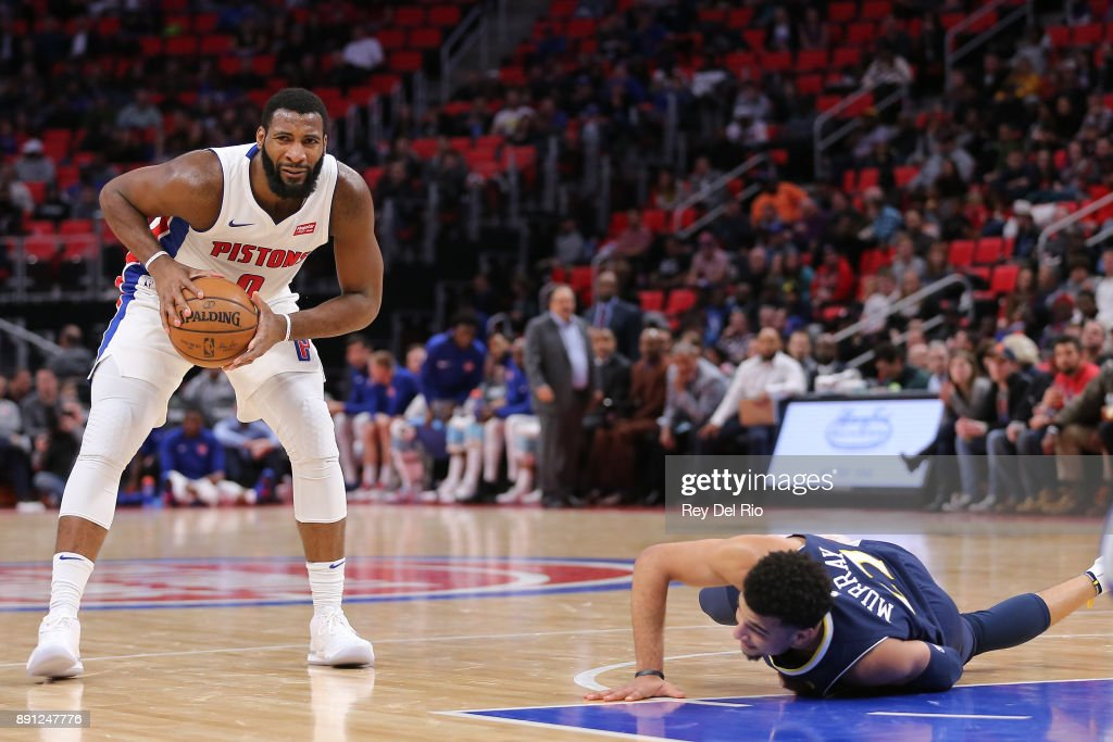 Andre Drummond #0 of the Detroit Pistons reacts to a call during the game against the Denver Nuggets at Little Caesars Arena on December 12, 2017 in Detroit, Michigan.