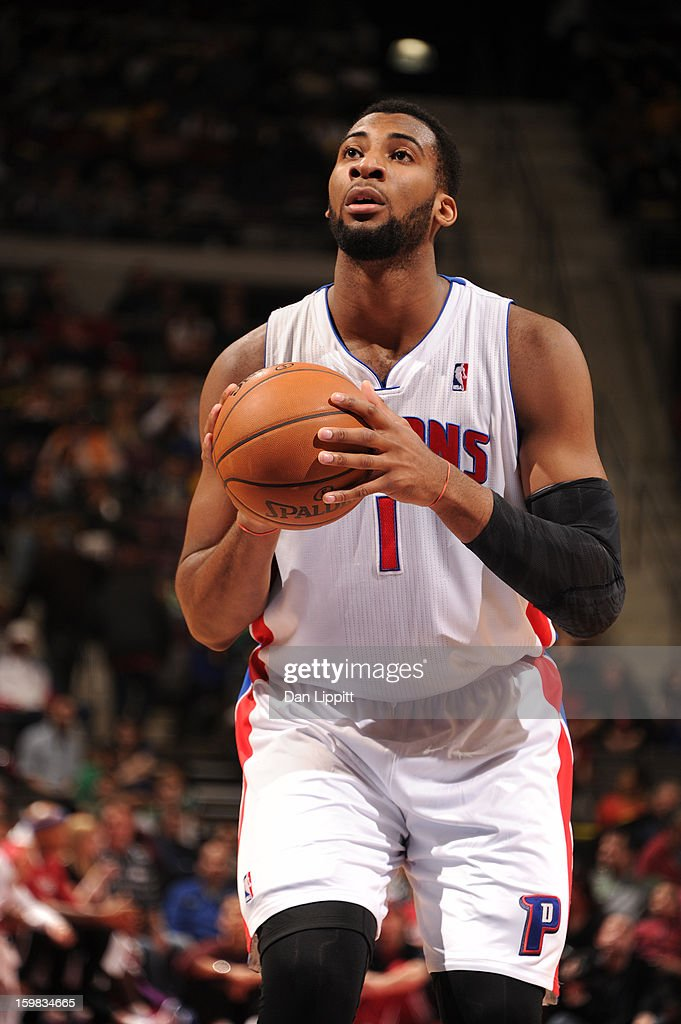 <a gi-track='captionPersonalityLinkClicked' href=/galleries/search?phrase=Andre+Drummond&family=editorial&specificpeople=7122456 ng-click='$event.stopPropagation()'>Andre Drummond</a> #1 of the Detroit Pistons shoots a free throw against the Boston Celtics on January 20, 2013 at The Palace of Auburn Hills in Auburn Hills, Michigan.