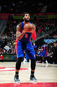 Andre Drummond of the Detroit Pistons shoots a free throw against the Atlanta Hawks on December 23 2015 at Philips Arena in Atlanta Georgia NOTE TO...