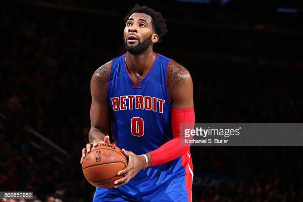 Andre Drummond of the Detroit Pistons shoots a free throw against the New York Knicks on December 29 2015 at Madison Square Garden in New York City...