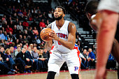 Andre Drummond of the Detroit Pistons shoots a free throw during the game against the Atlanta Hawks on March 16 2016 at The Palace of Auburn Hills in...