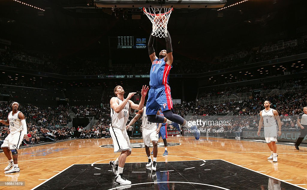 Andre Drummond #1 of the Detroit Pistons shoots against Brook Lopez #11 of the Brooklyn Nets on April 17, 2013 at the Barclays Center in the Brooklyn borough of New York City.