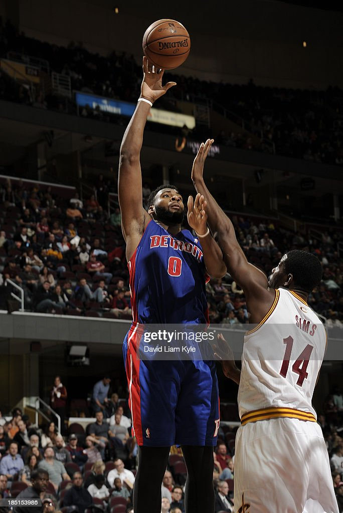 <a gi-track='captionPersonalityLinkClicked' href=/galleries/search?phrase=Andre+Drummond&family=editorial&specificpeople=7122456 ng-click='$event.stopPropagation()'>Andre Drummond</a> #0 of the Detroit Pistons shoots against <a gi-track='captionPersonalityLinkClicked' href=/galleries/search?phrase=Henry+Sims&family=editorial&specificpeople=5132323 ng-click='$event.stopPropagation()'>Henry Sims</a> #14 of the Cleveland Cavaliers at The Quicken Loans Arena on October 17, 2013 in Cleveland, Ohio.