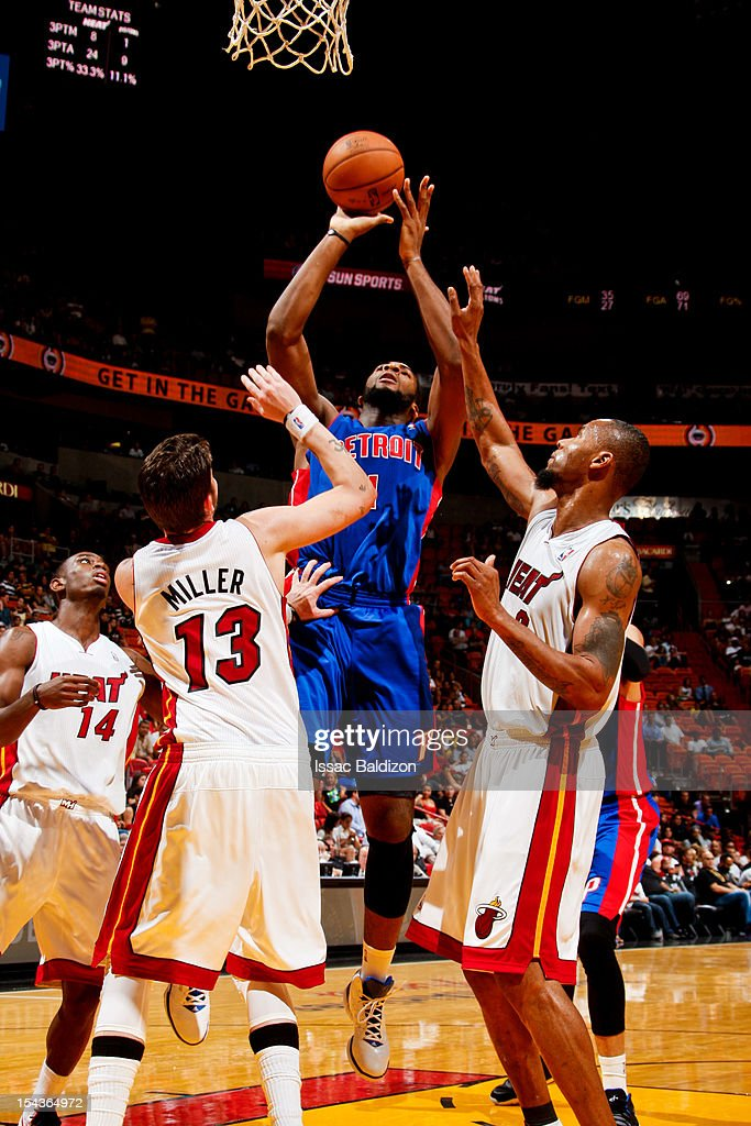 <a gi-track='captionPersonalityLinkClicked' href=/galleries/search?phrase=Andre+Drummond&family=editorial&specificpeople=7122456 ng-click='$event.stopPropagation()'>Andre Drummond</a> #1 of the Detroit Pistons shoots against <a gi-track='captionPersonalityLinkClicked' href=/galleries/search?phrase=Mike+Miller+-+Basketball+Player&family=editorial&specificpeople=201801 ng-click='$event.stopPropagation()'>Mike Miller</a> #13 of the Miami Heat during a pre-season game on October 18, 2012 at American Airlines Arena in Miami, Florida.