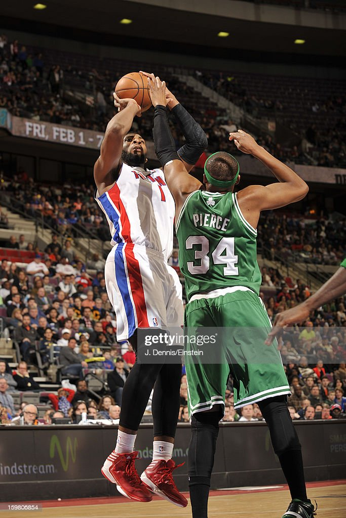 Andre Drummond #1 of the Detroit Pistons shoots against Paul Pierce #34 of the Boston Celtics on January 20, 2013 at The Palace of Auburn Hills in Auburn Hills, Michigan.