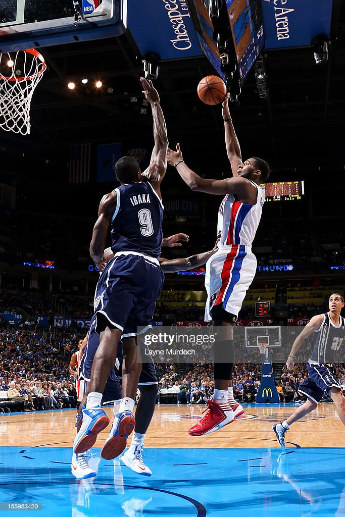 <a gi-track='captionPersonalityLinkClicked' href=/galleries/search?phrase=Andre+Drummond&family=editorial&specificpeople=7122456 ng-click='$event.stopPropagation()'>Andre Drummond</a> #1 of the Detroit Pistons shoots against <a gi-track='captionPersonalityLinkClicked' href=/galleries/search?phrase=Serge+Ibaka&family=editorial&specificpeople=5133378 ng-click='$event.stopPropagation()'>Serge Ibaka</a> #9 of the Oklahoma City Thunder on November 9, 2012 at the Chesapeake Energy Arena in Oklahoma City, Oklahoma.