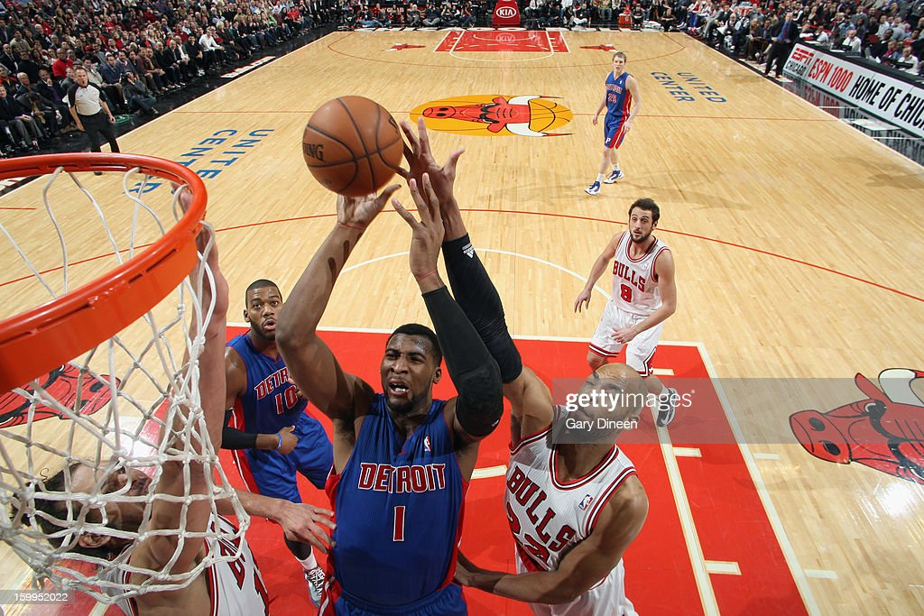 <a gi-track='captionPersonalityLinkClicked' href=/galleries/search?phrase=Andre+Drummond&family=editorial&specificpeople=7122456 ng-click='$event.stopPropagation()'>Andre Drummond</a> #1 of the Detroit Pistons shoots against <a gi-track='captionPersonalityLinkClicked' href=/galleries/search?phrase=Taj+Gibson&family=editorial&specificpeople=4029461 ng-click='$event.stopPropagation()'>Taj Gibson</a> #22 of the Chicago Bulls on January 23, 2012 at the United Center in Chicago, Illinois.