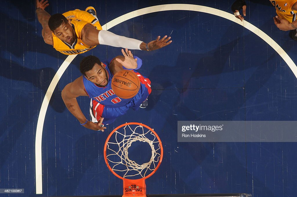 <a gi-track='captionPersonalityLinkClicked' href=/galleries/search?phrase=Andre+Drummond&family=editorial&specificpeople=7122456 ng-click='$event.stopPropagation()'>Andre Drummond</a> #0 of the Detroit Pistons shoots against the Indiana Pacers at Bankers Life Fieldhouse on April 2, 2014 in Indianapolis, Indiana.