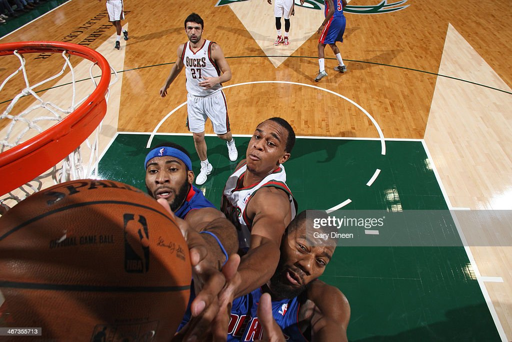 <a gi-track='captionPersonalityLinkClicked' href=/galleries/search?phrase=Andre+Drummond&family=editorial&specificpeople=7122456 ng-click='$event.stopPropagation()'>Andre Drummond</a> #0 of the Detroit Pistons shoots against the Milwaukee Bucks on December 4, 2013 at the BMO Harris Bradley Center in Milwaukee, Wisconsin.