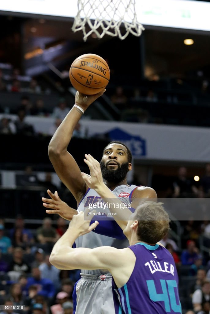 Andre Drummond #0 of the Detroit Pistons shoots over Cody Zeller #40 of the Charlotte Hornets during their game at Spectrum Center on February 25, 2018 in Charlotte, North Carolina.