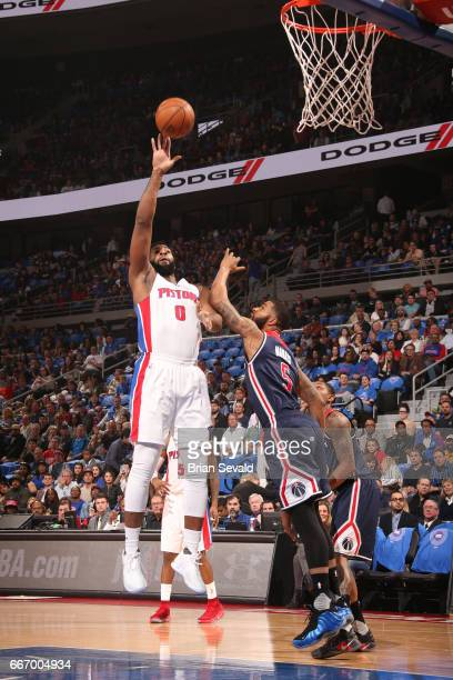 Andre Drummond of the Detroit Pistons shoots the ball against the Washington Wizards on April 10 2017 at The Palace of Auburn Hills in Auburn Hills...