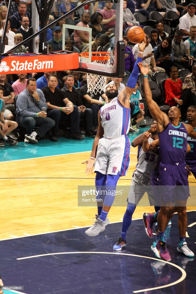 Andre Drummond #0 of the Detroit Pistons shoots the ball against the Charlotte Hornets on February 25, 2017 at Spectrum Center in Charlotte, North Carolina.