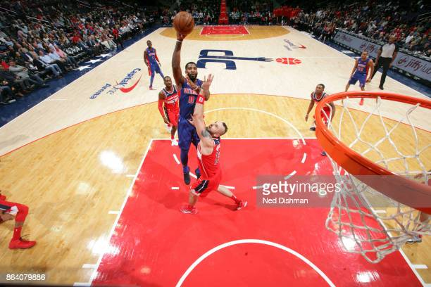 Andre Drummond of the Detroit Pistons shoots the ball during game against the Washington Wizards on October 20 2017 at Capital One Arena in...