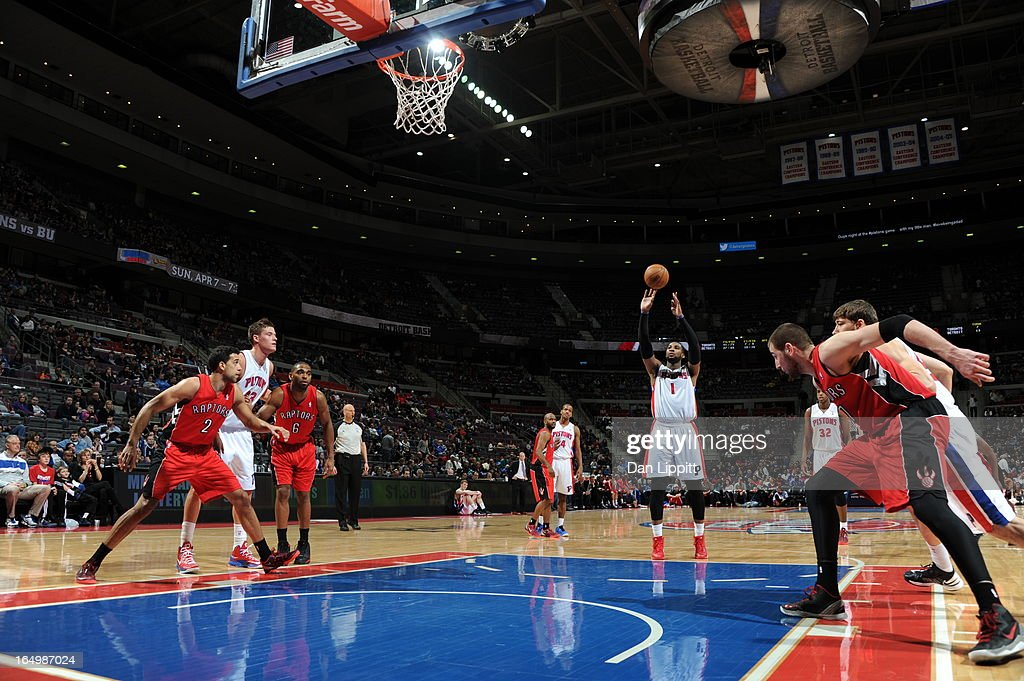 <a gi-track='captionPersonalityLinkClicked' href=/galleries/search?phrase=Andre+Drummond&family=editorial&specificpeople=7122456 ng-click='$event.stopPropagation()'>Andre Drummond</a> #1 of the Detroit Pistons shoots the ball during the game between the Detroit Pistons and the Toronto Raptors on March 29, 2013 at The Palace of Auburn Hills in Auburn Hills, Michigan.