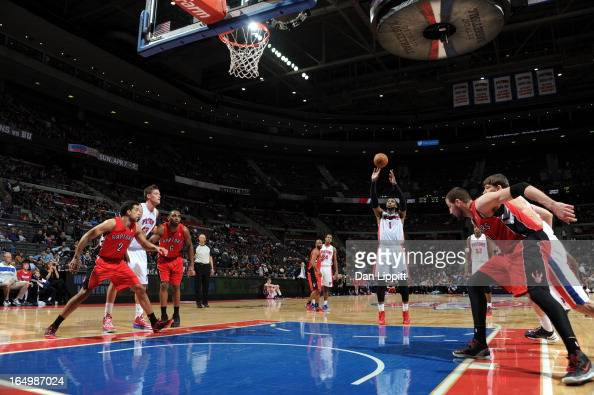 Andre Drummond of the Detroit Pistons shoots the ball during the game between the Detroit Pistons and the Toronto Raptors on March 29 2013 at The...