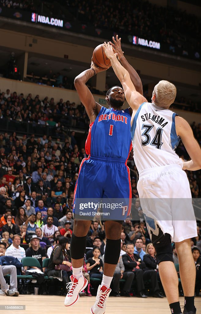 <a gi-track='captionPersonalityLinkClicked' href=/galleries/search?phrase=Andre+Drummond&family=editorial&specificpeople=7122456 ng-click='$event.stopPropagation()'>Andre Drummond</a> #1 of the Detroit Pistons shots the ball against <a gi-track='captionPersonalityLinkClicked' href=/galleries/search?phrase=Greg+Stiemsma&family=editorial&specificpeople=2098297 ng-click='$event.stopPropagation()'>Greg Stiemsma</a> #34 of the Minnesota Timberwolves during the game between the Minnesota Timberwolves and the Detroit Pistons during the NBA preseason as part of NBA Canada Series 2012 on October 24, 2012 at the MTS Centre in Winnipeg, Manitoba, Canada.