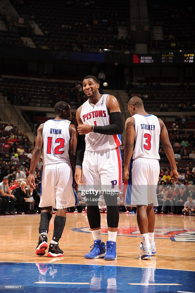 Andre Drummond #1 of the Detroit Pistons smiles after a play during the game between the Detroit Pistons and the Philadelphia 76ers on April 15, 2013 at The Palace of Auburn Hills in Auburn Hills, Michigan.