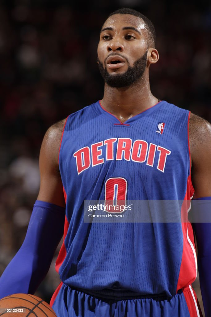 <a gi-track='captionPersonalityLinkClicked' href=/galleries/search?phrase=Andre+Drummond&family=editorial&specificpeople=7122456 ng-click='$event.stopPropagation()'>Andre Drummond</a> #0 of the Detroit Pistons stands on the court against the Portland Trail Blazers on November 11, 2013 at the Moda Center Arena in Portland, Oregon.