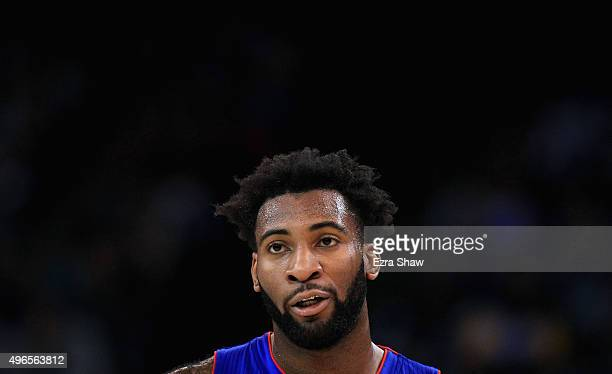 Andre Drummond of the Detroit Pistons stands on the court during their game against the Golden State Warriors at ORACLE Arena on November 9 2015 in...