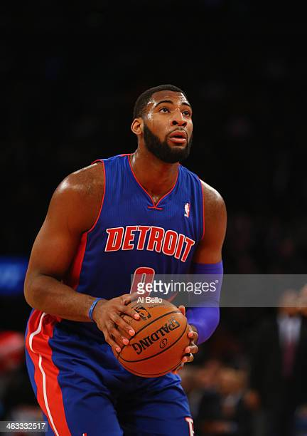 Andre Drummond of the Detroit Pistons takes a foul shot against the New York Knicks during their game at Madison Square Garden on January 7 2014 in...