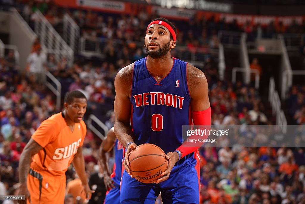 <a gi-track='captionPersonalityLinkClicked' href=/galleries/search?phrase=Andre+Drummond&family=editorial&specificpeople=7122456 ng-click='$event.stopPropagation()'>Andre Drummond</a> #0 of the Detroit Pistons takes a free throw against the Phoenix Suns on March 21, 2014 at U.S. Airways Center in Phoenix, Arizona.