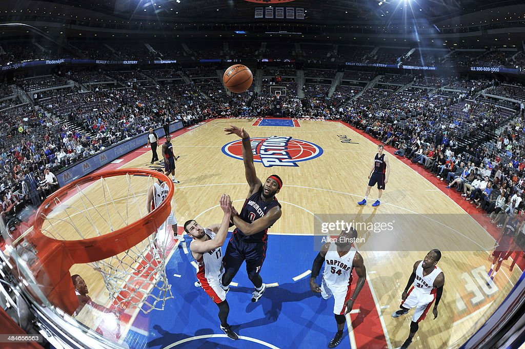 <a gi-track='captionPersonalityLinkClicked' href=/galleries/search?phrase=Andre+Drummond&family=editorial&specificpeople=7122456 ng-click='$event.stopPropagation()'>Andre Drummond</a> #0 of the Detroit Pistons takes a shot against the Toronto Raptors on April 13, 2014 at The Palace of Auburn Hills in Auburn Hills, Michigan.