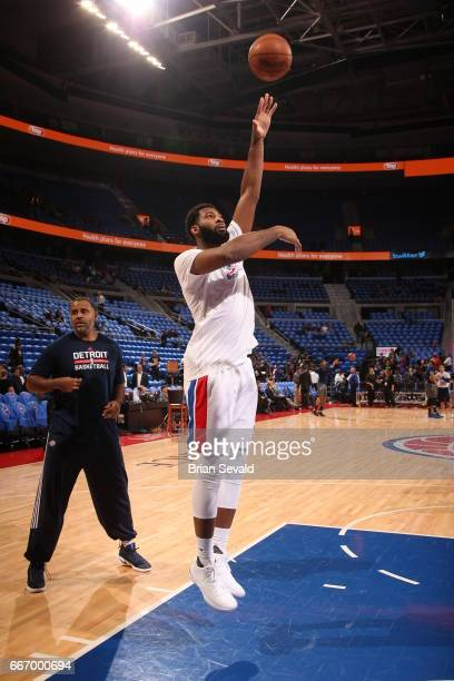 Andre Drummond of the Detroit Pistons warms up before the game against the Washington Wizards on April 10 2017 at The Palace of Auburn Hills in...