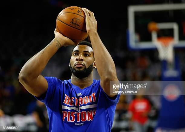 Andre Drummond of the Detroit Pistons works on free throws prior to playing the Cleveland Cavaliers in game four of the NBA Eastern Conference...