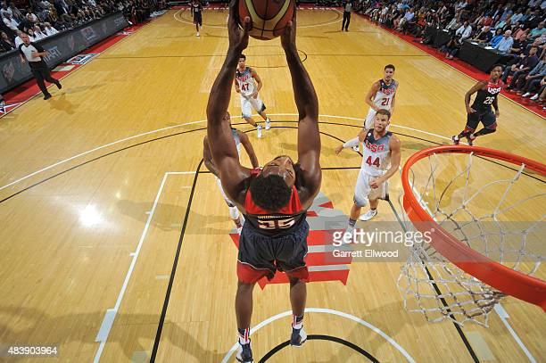 Andre Drummond of the USA Blue Team goes up for a dunk against the USA White Team during Team USA Basketball Showcase on August 13 2015 at the Thomas...